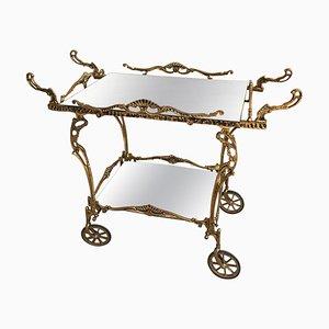 Baroque Brass Two-Tier Bar Cart