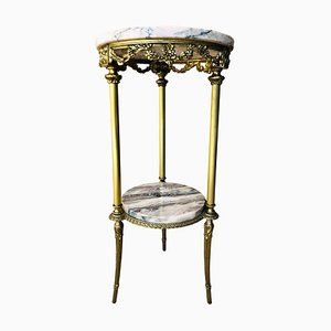 19th Century Spanish Bronze and Brass Gilded Side Table with White Marbles Top