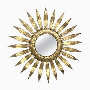 Mid-Century Spiegel aus vergoldetem Eisen & Blatt in Blumen-Optik