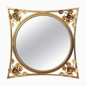 Art Decó Spiegel mit vergoldetem Metallrahmen, 20. Jh