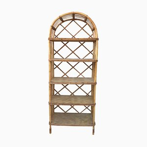 French Mid-Century Bamboo Étagère with Five Bamboo Shelves