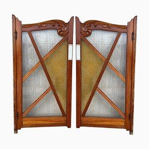Französische Antike Französische Salontüren aus Kiefernholz & Buntglas, 2er Set