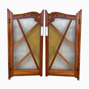 French Antique Pine and Stained Glass Swinging Saloon Doors, Set of 2