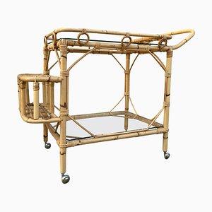 Mid-Century Bamboo Tea Cart