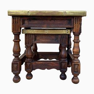 19th Century Spanish Zinc Top Nesting Tables, Set of 2
