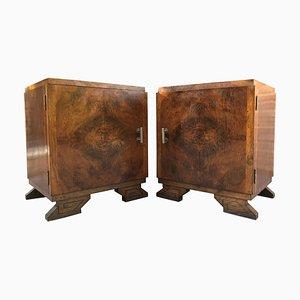 Art Deco Nightstands with Ebonized Base, Set of 2