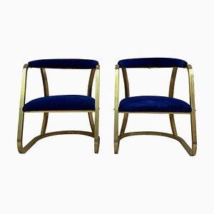 Französische Mid-Century Stühle aus Goldmessing, 2er Set