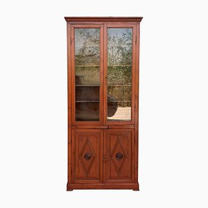 French Large Pine Bookcase with Glass Vitrine, 19th Century