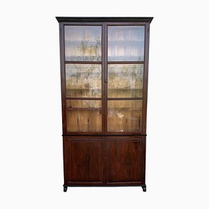 Spanish Large Pine Bookcase with Glass Vitrine, 19th Century