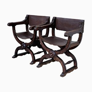 19th Century Folding Carved Walnut and Leather Bench, Set of 2