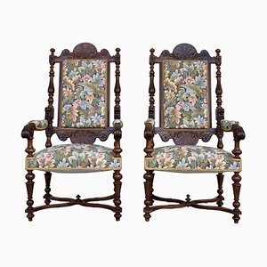 French Carved Walnut Armchairs, 1900s, Set of 2