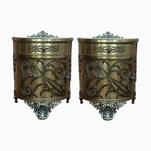 Antique Bronze and Brass Cabinets, Set of 2