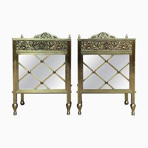 Louis XVI Vitrinen Nachttische aus Bronze, 2er Set