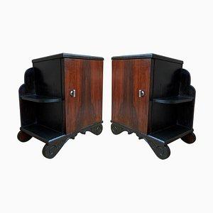 Art Deco Nightstands with Ebonized Base and Burl Walnut, Set of 2