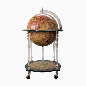 Mid-20th Century Lucite and Ebonized Globe Cocktail Cabinet
