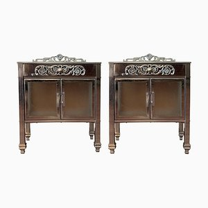 French Art Deco Brass Side Table, Set of 2
