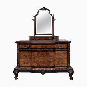 Venetian Baroque Dresser with Mirror in Burl Walnut with Ebonized Details, 1900s