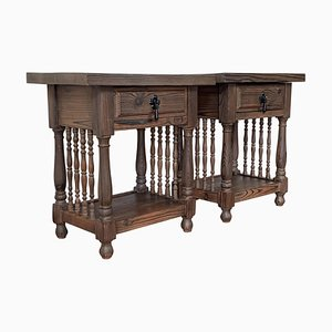 Nightstands with Carved Bars, Drawer & Open Shelf, Catalan, Spain, Set of 2