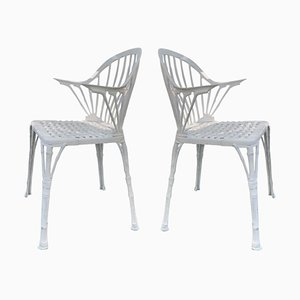 20th Renaissance Revival Style White Garden Chairs in Faux Bamboo, Set of 2