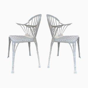Weiße Gartenstühle im 20. Jahrhundert im Bambus-Stil, 2er Set