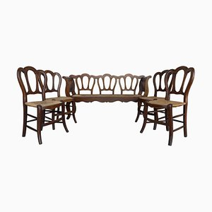 20th Century Bench & Victorian Chairs in Wood and Rattan, Set of 5