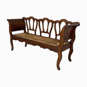 20th Century Walnut Victorian Bench in Wood and Rattan Seat