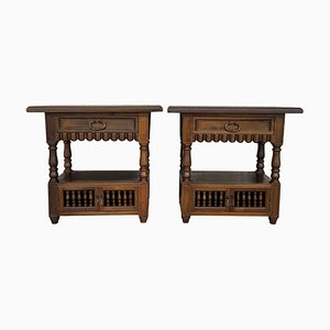 19th Century Spanish Catalan Nightstands with Drawers and Open Shelves, Set of 2