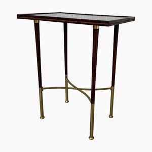 Art Deco Rectangular Mahogany Side Table with Legs & Brass Feet