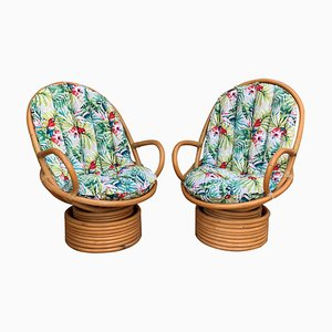 Drehbare italienische Mid-Century Modern Bambus Sessel mit Kissen, 2er Set