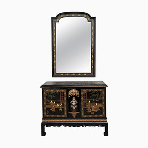 Black Lacquer & Hand-Painted Open Altar Table or Sideboard with Mirror, Set of 2