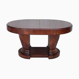 Französischer Ovaler Art Deco Wurzel-Ulmenholz Tisch mit 2 Säulen