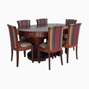 French Art Deco Burl Elm 2-Pedestal Oval Table & Chairs, Set of 7