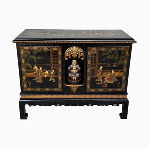 20th Black Lacquer and Hand-Painted Open Altar Table or Sideboard