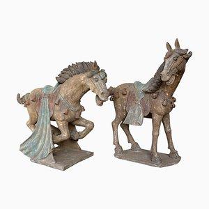Chevaux de la Dynastie Han en Terracotta, Chine, Set de 2