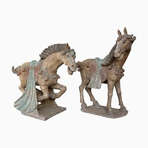 Han Dynasty Terracotta Horses, China, Set of 2