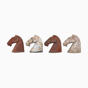 Ancient Han Dynasty Gray & Red Pottery Horse Heads, Set of 4