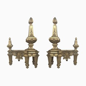 Kaminböcke aus Bronze und Eisen, 19. Jh
