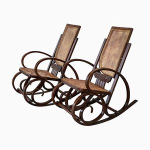 Art Deco Bentwood & Reed Rocking ChairSeats, Set of 2