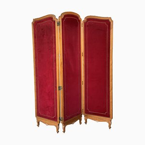 French Red Velvet Three-Panel Screen with Antique Brass Tacks