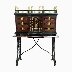 18th Century Italian Cabinet on Stand, Baroque Bargueno with Carey Inlays