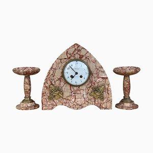 Art Deco Pink Marble Mantle, Desk or Chapel Clock Set with Bronze Details