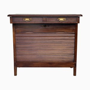 Art Deco Lady Desk with Hidden Roll, Low Compartment & 2 Drawers