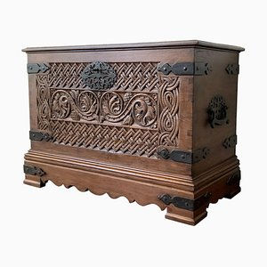 17th Century Spanish Baroque Savoy Hand-Carved Chest Trunk