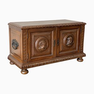 19th Century Spanish Baroque Hand-Carved Chest Trunk