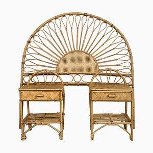 Mid-Century Modern Bambus & Bugholz Kopfteil & Nachttische Set