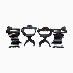19th Century Carved Walnut Folding Scissors Savonarola Chairs, Set of 4