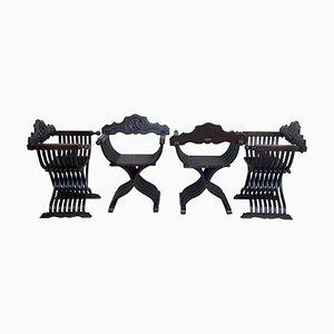 Klappbare Savonarola Stühle aus geschnitztem Nussholz, 19. Jh., 4er Set