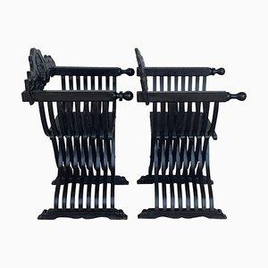 19th Century Carved Walnut Folding Scissors Savonarola Chairs, Set of 2