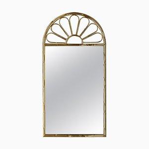 Italienischer Mid-Century Modern Spiegel aus Vergoldetem Metall in Bambus Optik