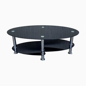 Mid-Century Oval Center Table in Black Glass Tops & Chrome